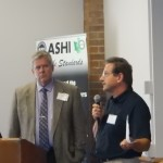 Mike Brisbin and Brad Albin- chapter Education chair- raffle off a ladder